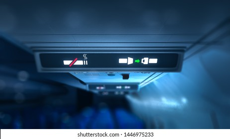 lit airplane no smoking and fasten seatbelts signs. 3D rendering, illustration