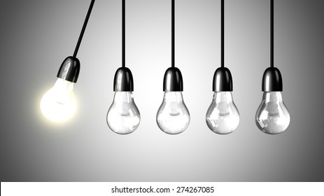 A lit light bulb will boost other extinguished bulbs. Newton's cradle concept. Realistic 3d render