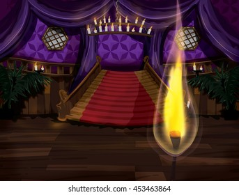 Lit match in a mansion staircase room.
