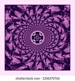 lit up purple geometric cross in center of kaleidoscope