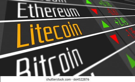 Litecoin Crypto Currency Market as concept. Financial markets and virtual currency values 3D Illustration.