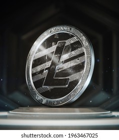 Litecoin - LTC - 3D render of the cryptocurrency coin in it's physical form, part of a collection regrouping all the major crypto coins