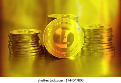 Litecoin (LTC) digital crypto currency. Stack of golden coins. Cyber money. 3D Render.