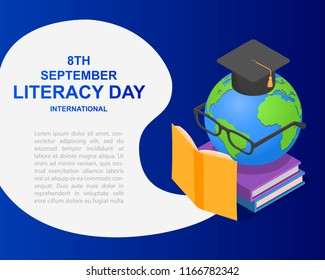 Literacy Day book international globe hat library banner concept. Isometric illustration of Literacy Day book international globe hat library banner for web