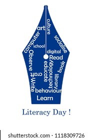 literacy day tag clouds with words related to learning education read write