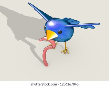 A literal concept depiction of the idiom of a cartoon blue bird catching a pink earth worm on an isolated background - 3D render