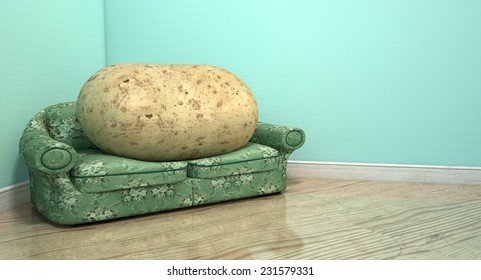A literal depiction of a potato sitting on an old vintage sofa with a floral fabric in the corner of an empty room with light blue wall and a reflective wooden floor
