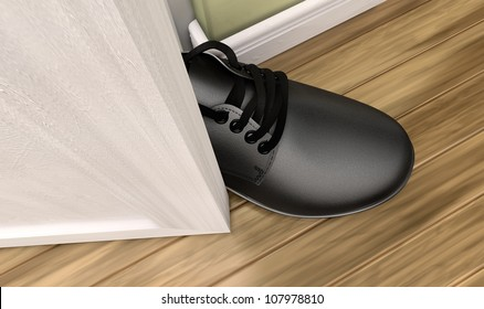 A literal depiction of the saying get a foot in the door