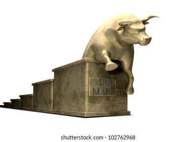 A literal depiction of a typical bull market, showing statuettes cast in gold of an upward trending graph with a bull emerging from the end