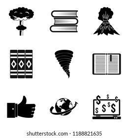Literary icons set. Simple set of 9 literary icons for web isolated on white background