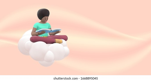 Literature fan a young african girl in the sky on a cloud is reading a book. Funny, abstract cartoon people on beige. 3D rendering.