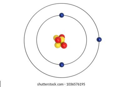 lithium atom bohr model with proton, neutron and electron  3d illustration