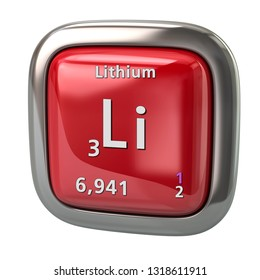 Lithium Li chemical element from the periodic table red icon 3d illustration on white background
