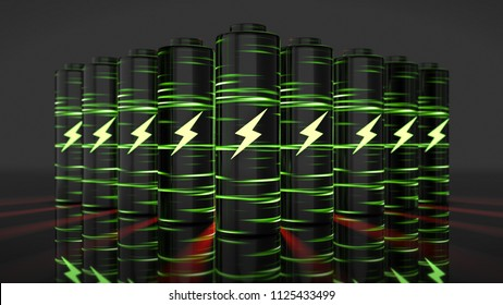 lithium-ion battery Li-ion quick recharge and long life eclectic power 3D render graphic