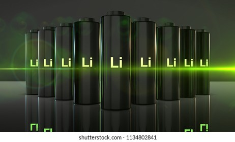 lithium-ion battery Li-ion quick recharge and long life electric power 3D render graphic