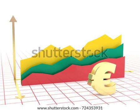 Lithuania Economy Growth Bar Graph Flag Stock Illustration 724353931
