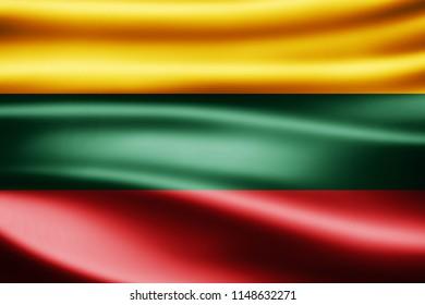 Lithuania  flag of silk-3D illustration