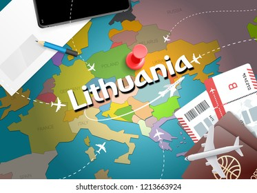 Lithuania travel concept map background with planes, tickets. Visit Lithuania travel and tourism destination concept. Lithuania flag on map. Planes and flights to Lithuanian holidays Vilnius,Kaunas