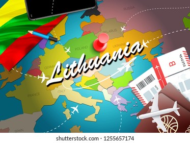 Lithuania travel concept map background with planes, tickets. Visit Lithuania travel and tourism destination concept. Lithuania flag on map. Planes and flights to Lithuanian holidays to Kaunas