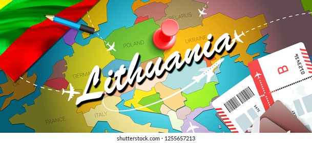 Lithuania travel concept map background with planes, tickets. Visit Lithuania travel and tourism destination concept. Lithuania flag on map.Planes and flights to Lithuanian holidays to Vilnius,Kaunas