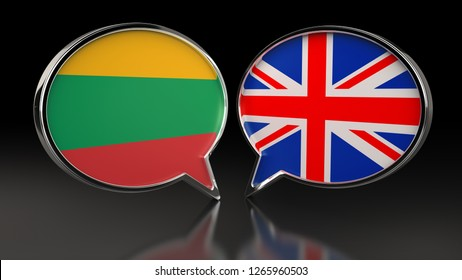 Lithuania and United Kingdom flags with Speech Bubbles. 3D illustration