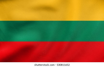 Lithuanian national official flag. Patriotic symbol, banner, element, background. Correct size, colors. Flag of Lithuania waving in the wind, real detailed fabric texture. 3D illustration