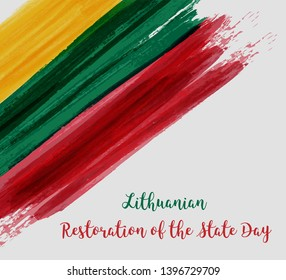 Lithuanian Restoration of the State Day. Holiday background with abstract Lithuanian flag