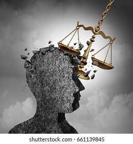 Litigation and lawsuit stress concept as a lawyer or attorney metaphor and plaintiff anxiety symbol as a law scale damaging a human icon as an impact due to legal issues as a 3D illustration.
