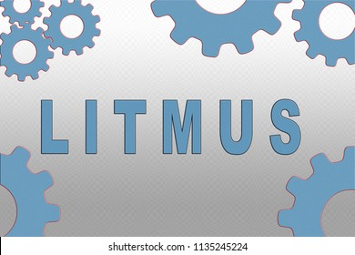LITMUS sign concept illustration with pale blue gear wheel figures on gray gradient background