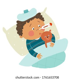 Little African American boy ill in bed with thermometer and hugging teddy bear. Cartoon hand drawn10 illustration isolated on white background in a flat style