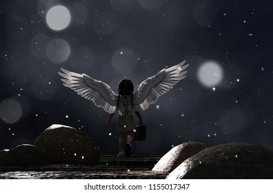 Little angel 's adventure in starry night,3d illustration conceptual background