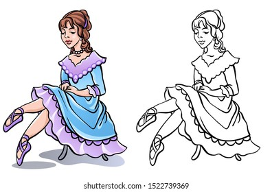 Little beautiful ballerina dancer girl sits on the chair. Fantasy blue and lilac dress and pointe shoes. Classic ballet costume. Coloring book design drawing. Stock illustration.