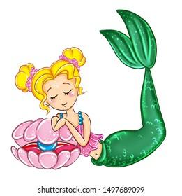 little beautiful mermaid sleep on sink with pearl