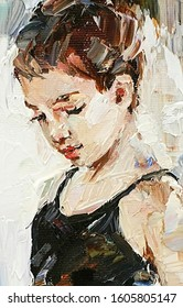 Little beautiful thoughtful girl on the light background,created in the expressive manner. Palette knife technique of oil painting and brush.
