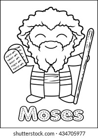Little Bible Character Coloring Activity Moses