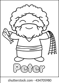 Little Bible Character Coloring Activity Peter