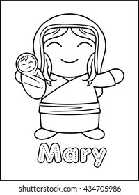 Little Bible Character Coloring Activity Mary