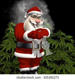 A Little Bit More for Santa: Santa caught smoking from a bong in front of a crop of marijuana plants. Bah Humbug