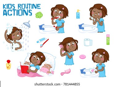 Little black girl and her daily routine - good morning and good night - white background - taking a shower, brushing teeth, washing face, combing hair, reading bedtime story...