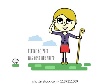 Little bo peep has lost her sheep  - nursery rhyme - Illustration