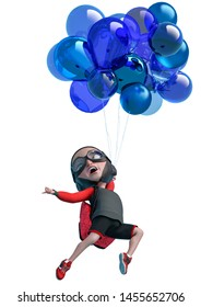 little boy cartoon holding and floating balloon in a white background botton side view. This explorer guy in clipping path is very useful for graphic design creations, 3d illustration