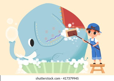 Little Boy is Cleaning Up the Elephant. Creative Idea, Innovative art, Concept Illustration, Greeting Card, Cartoon Style Artwork