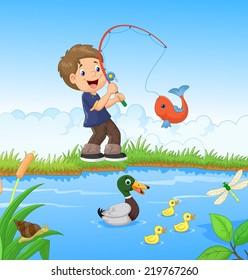Boy Catching Fish Images, Stock Photos & Vectors   Shutterstock