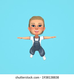 Little Boy Flying. Stylize Character on Blue Background. Minimal Art Style Character. 3D Render
