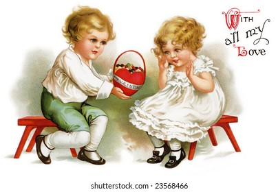 Little boy giving a Valentine basket to a cute little girl - a Victorian greeting card illustration, circa 1912