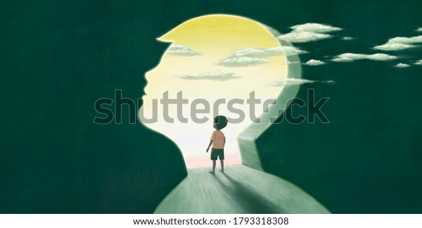 Little boy looking at the sky, imagination hope dream concept, child art, painting artwork, conceptual illustration