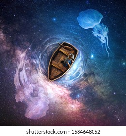 A little boy is on a small wooden boat on top of a colorful universe scene. 3D Digital Illustration