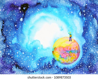 little boy on the world in universe illustration watercolor painting design hand drawn