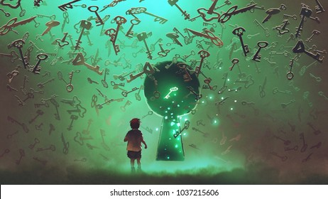little boy standing in front of the keyhole with the green light and many keys floating around him, digital art style, illustration painting