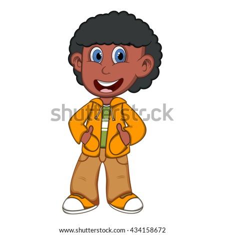 Little Boy Wearing Yellow Jacket Brown Stock Illustration Royalty